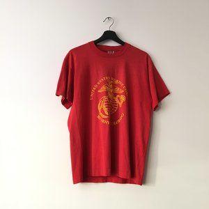 90s Vintage Graphic Tee Shirt  US Marine USA Red L